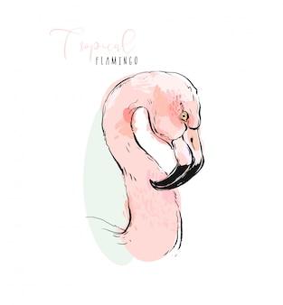 Istic illustratie van de tropische exotische roze flamingo van de paradijsvogel in pastelkleuren die op witte achtergrond worden geïsoleerd.
