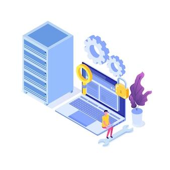 It-beheerders server, vrouw die werkt in gegevensservice zittend op laptop