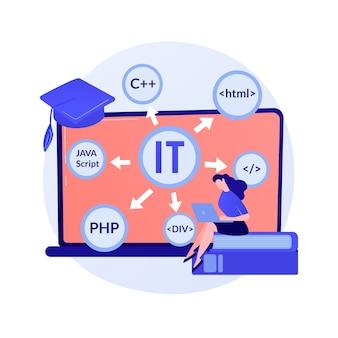 It-cursussen op afstand. zelfstudie, leren programmeren, studie informatietechnologie. vrouwelijke student die online cursus informatica behandelt.