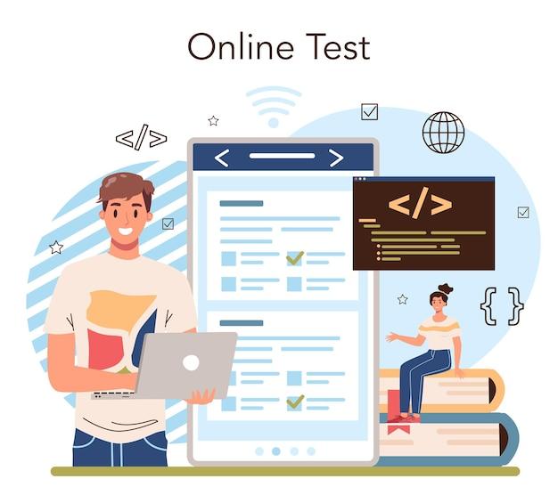 It-onderwijs online service of platform. student schrijft software en maakt code voor computer. codeerscript voor website en app. online-test. vector illustratie.