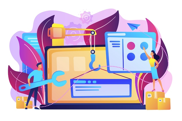 It-professionals maken een website op de illustratie van het laptopscherm