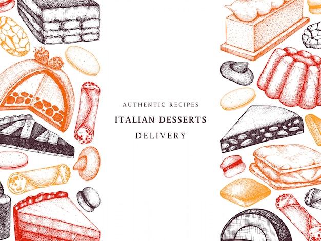 Italiaans bakkerij- of cafémenu. hand getrokken desserts, gebak, koekjes schets sjabloon. italiaanse zoete voedselachtergrond voor snelle voedsellevering, restaurant.