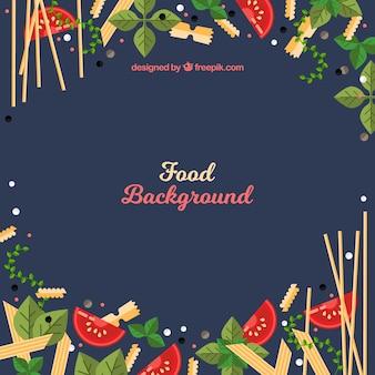 Italiaans eten achtergrond met platte ontwerp
