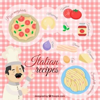 Italiaans eten achtergrond ontwerp