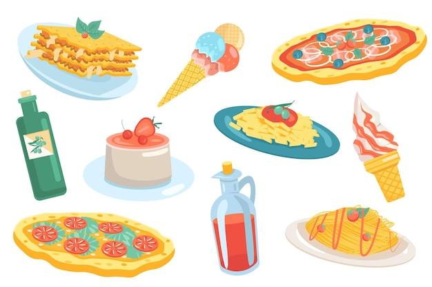 Italiaans eten elementen geïsoleerde set