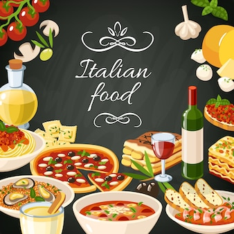 Italiaans eten illustratie