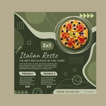Italiaans eten kwadraat flyer-sjabloon