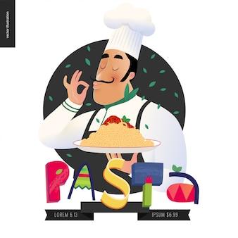 Italiaans karakter met psta