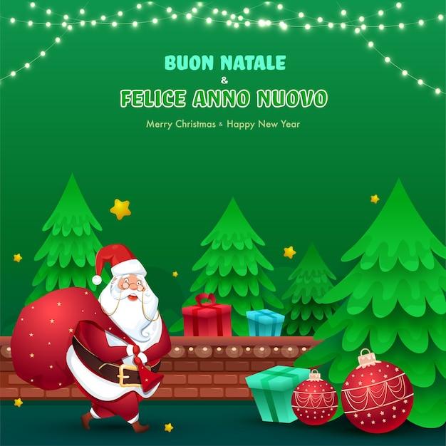 Italiaans lettertype van vrolijk kerstfeest en gelukkig nieuwjaar