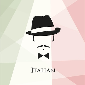 Italiaans met snor en vlinderdas