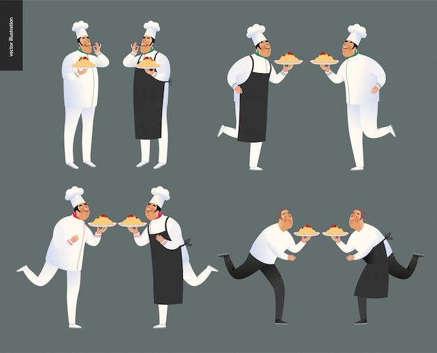 Italiaans restaurant chef-kok tekenset
