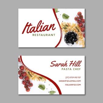 Italiaans voedsel dubbelzijdig visitekaartje