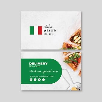 Italiaans voedsel horizontaal visitekaartje Premium Vector