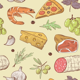 Italiaans voedsel naadloos patroon