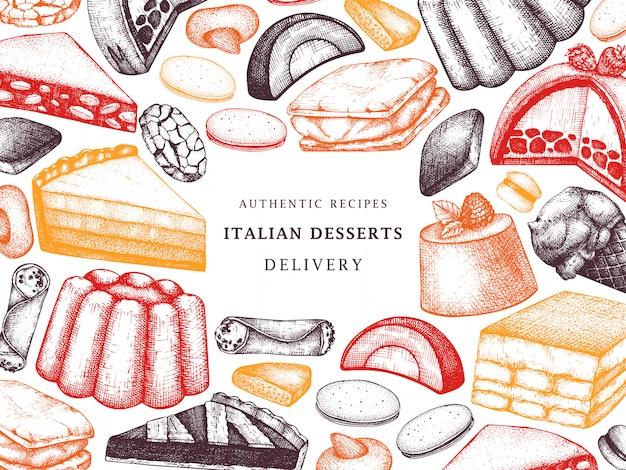 Italiaanse desserts, gebakjes, koekjesframe. hand getrokken bakken schets illustratie. bakkerij in kleur. vintage italiaanse zoete voedselachtergrond voor snelle voedsellevering, koffie, restaurantmenu.