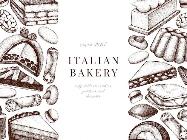 Italiaanse desserts, gebakjes, koekjesmenu. hand getrokken bakken schets illustratie. bakkerij banner. vintage italiaanse zoete voedselachtergrond voor snelle voedsellevering, koffie, restaurantmenu.