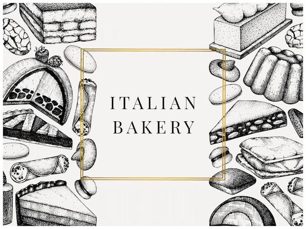 Italiaanse desserts, gebakjes, koekjesmenu. met de hand getekende bakken schets illustratie. bakkerij. vintage italiaanse snoep achtergrond voor fast-food levering, café, restaurantmenu.