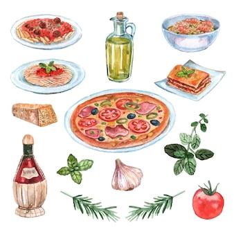 Italiaanse die voedselwaterverf met pizzadeegwaren en wijn wordt geplaatst