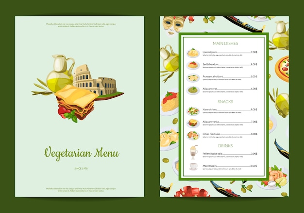 Italiaanse keuken café of restaurant menu illustratie