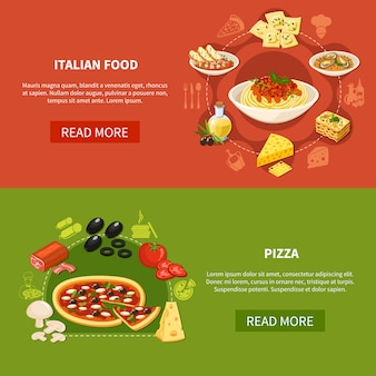 Italiaanse keuken horizontale banners