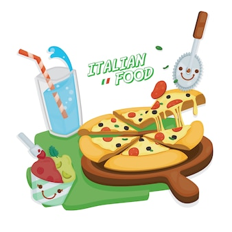 Italiaanse keuken. pizza margarita geserveerd met italiaans frisdrank en ijs van gelato.