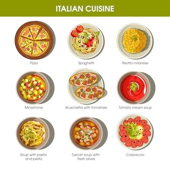 Italiaanse keuken plat kleurrijke poster met traditionele gerechten
