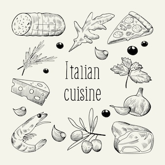 Italiaanse keuken schets doodle
