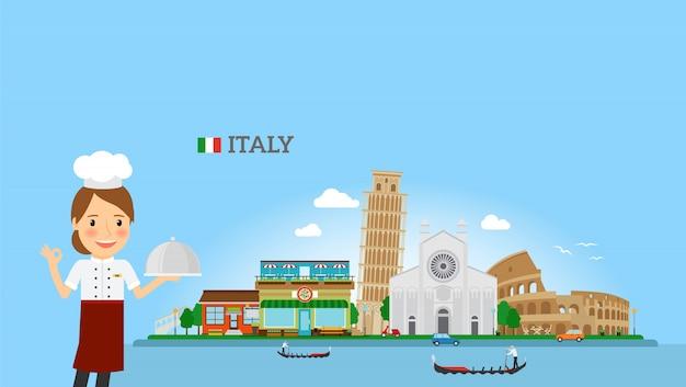 Italiaanse keukenachtergrond met vrouwenchef-kok