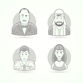 Italiaanse maffiosi, arabische sjeik, tweede piloot, mooi vrouwenmodel. set van karakter-, avatar- en persoonillustraties. zwart-wit geschetste stijl.