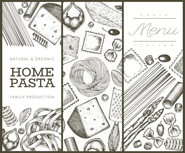 Italiaanse pasta met toevoegingen sjabloon. hand getekend voedsel illustratie. gegraveerde stijl.