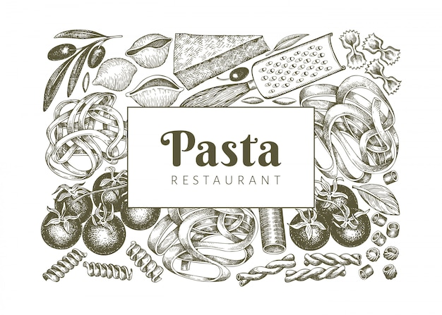 Italiaanse pasta met toevoegingen sjabloon.