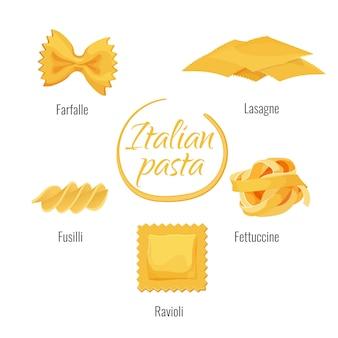 Italiaanse pasta soorten vector geïsoleerde pictogrammen