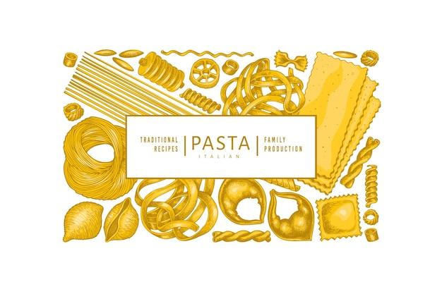 Italiaanse pastasjabloon. hand getekend voedsel illustratie. vintage pasta verschillende soorten achtergrond.