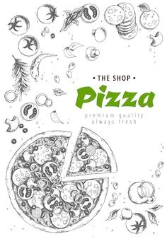 Italiaanse pizza bovenaanzicht achtergrond