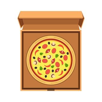 Italiaanse pizza in de geopende kartonnen doos