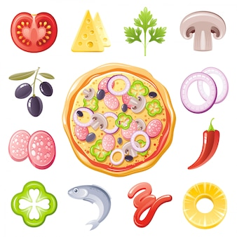 Italiaanse pizza ingridients icon set. eten menu illustratie.