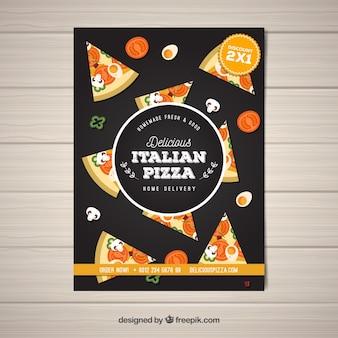 Italiaanse pizza slice brochure Gratis Vector