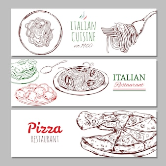 Italiaanse restaurant horizontale banners