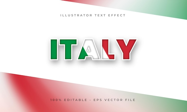 Italië bewerkbaar teksteffect met italiaanse vlagtextuur