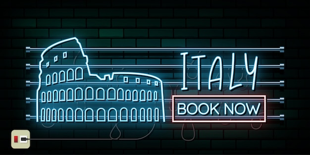 Italië en rome reizen en reis neonlicht achtergrond