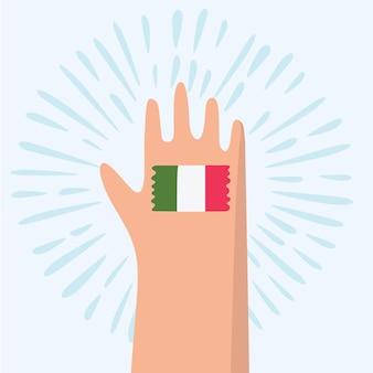 Italië handgetekende tekst belettering woord en italiaanse vlag