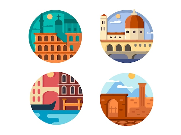 Italië ingesteld. colosseum in rome en rivierkanalen van venetië. vector illustratie. pixel perfecte pictogrammen grootte