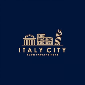 Italië stad overzicht logo sjabloon