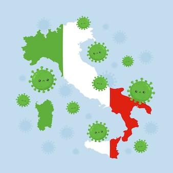 Italië viel de coronavirusinfectie aan. vlakke stijl cartoon karakter illustratie