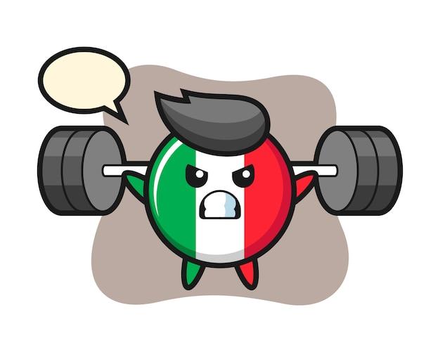 Italië vlag badge mascotte cartoon met een barbell, schattige stijl, sticker, logo-element