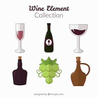 Items collectie van wijn in plat design