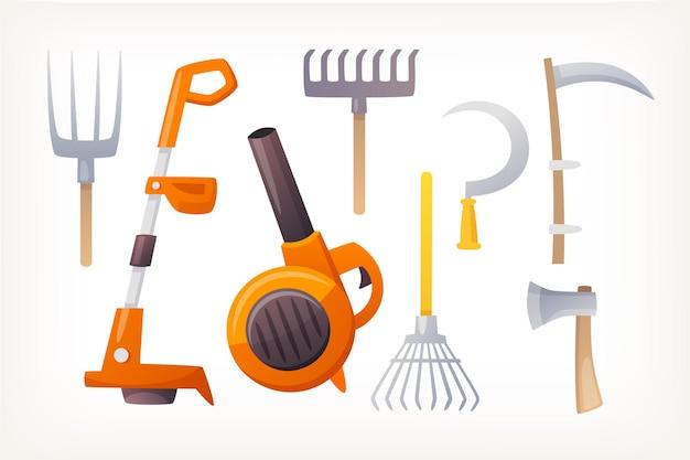 Items gereedschappen en landbouwmachines voor landbouw en planten vector