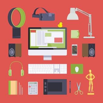 Items van de werkplaats van de digitale kunstenaar