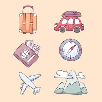 Items voor reizen in stripfiguur, vlakke afbeelding op crèmekleurige achtergrond