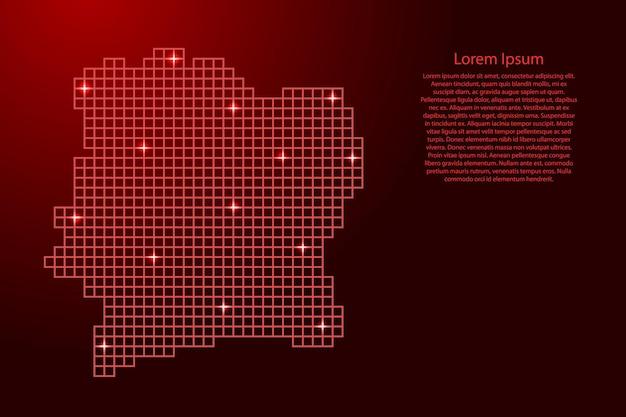 Ivoorkust kaart silhouet van rode mozaïek structuur pleinen en gloeiende sterren. vector illustratie.